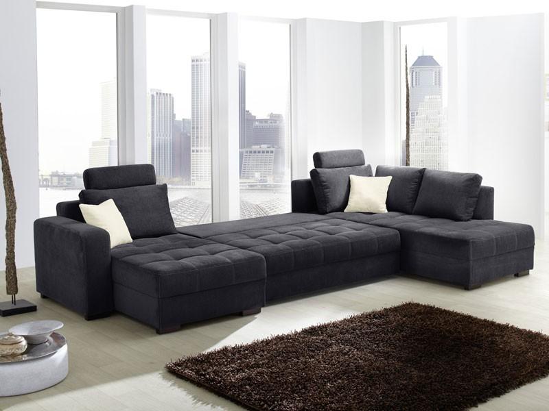 wohnlandschaft antigua 357x222cm mikrofaser schwarz sofa couch wohnbereiche wohnzimmer sofa