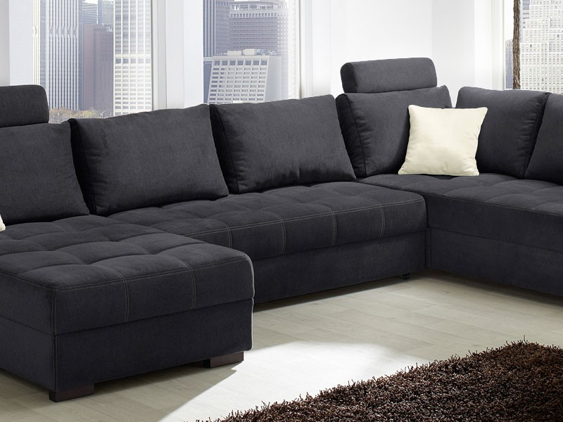 wohnlandschaft antigua 357x222cm mikrofaser schwarz sofa couch wohnbereiche wohnzimmer sofa. Black Bedroom Furniture Sets. Home Design Ideas