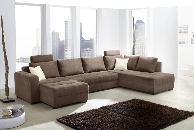 Wohnlandschaft antigua 357x222cm mikrofaser braun sofa - Wandgestaltung mit stoff ...