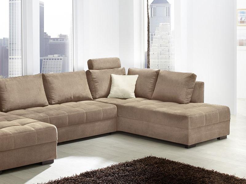 Wohnlandschaft Antigua 357x222cm Mikrofaser Hellbraun Sofa Couch Wohnbereiche Wohnzimmer Sofa