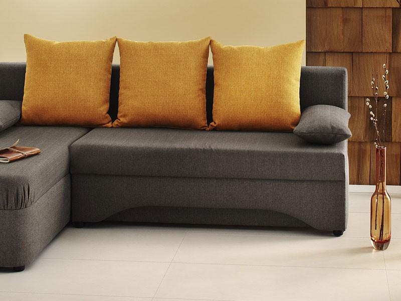 Ecksofa pollux 191x142cm braun orange schlafsofa couch for Eckcouch klein