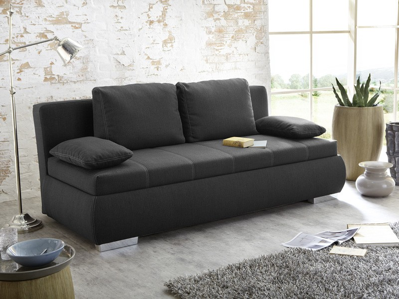 dauerschl fer schlafsofa merlin 210x112cm dunkel grau sofa. Black Bedroom Furniture Sets. Home Design Ideas