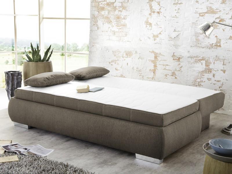 dauerschl fer schlafsofa merlin 210x112cm hellbraun boxspring couch wohnbereiche wohnzimmer. Black Bedroom Furniture Sets. Home Design Ideas