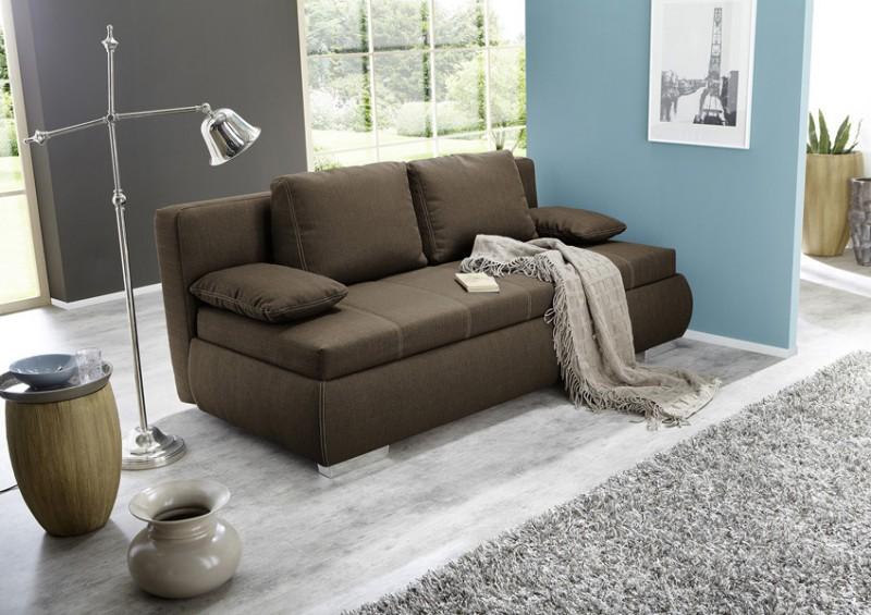 dauerschl fer schlafsofa merlin 210x112cm braun sofa. Black Bedroom Furniture Sets. Home Design Ideas