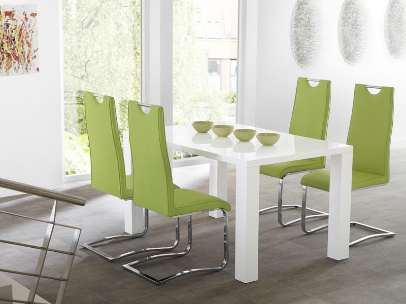 Großartig Esszimmer Weiß Grün Essgruppe Tischgruppe Tisch Elton 120(160)x90 + 4x  Schwinger .