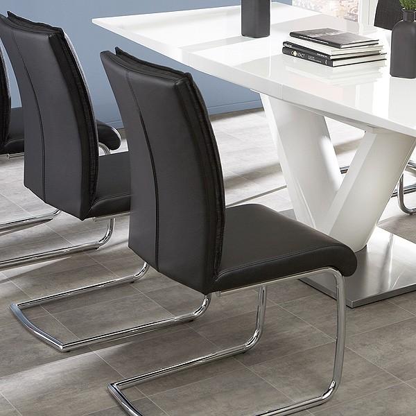essgruppe tischgruppe tisch wei hochglanz 6 schwingstuhl anthrazit vasco judy ebay. Black Bedroom Furniture Sets. Home Design Ideas