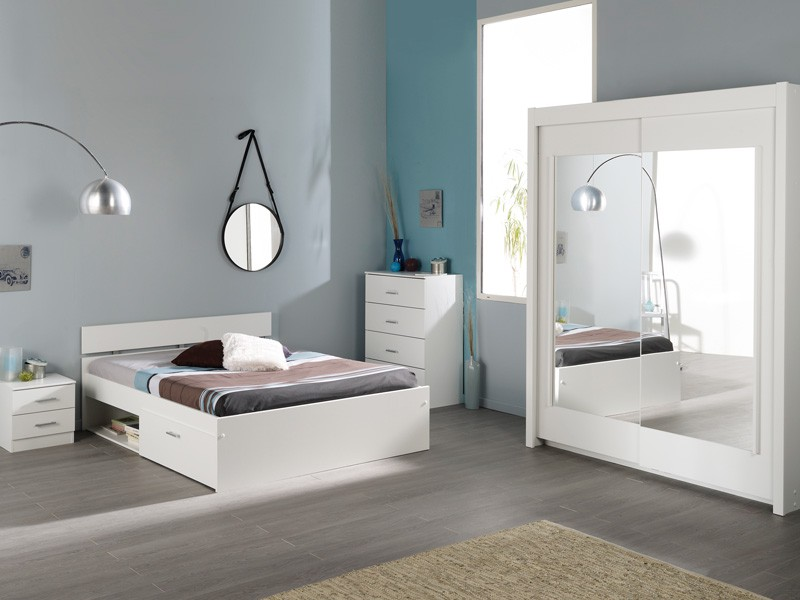 Schlafzimmer Komplett Weiß, Jugendzimmer 4-Teilig, Schrank Bett