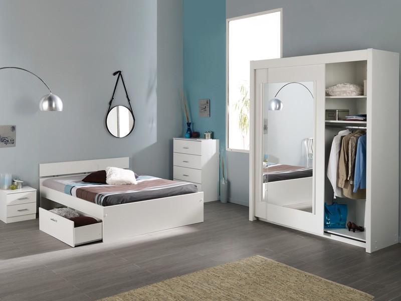 Schlafzimmer, Jugendzimmer Inaco 112, Weiß, 4 Teilig