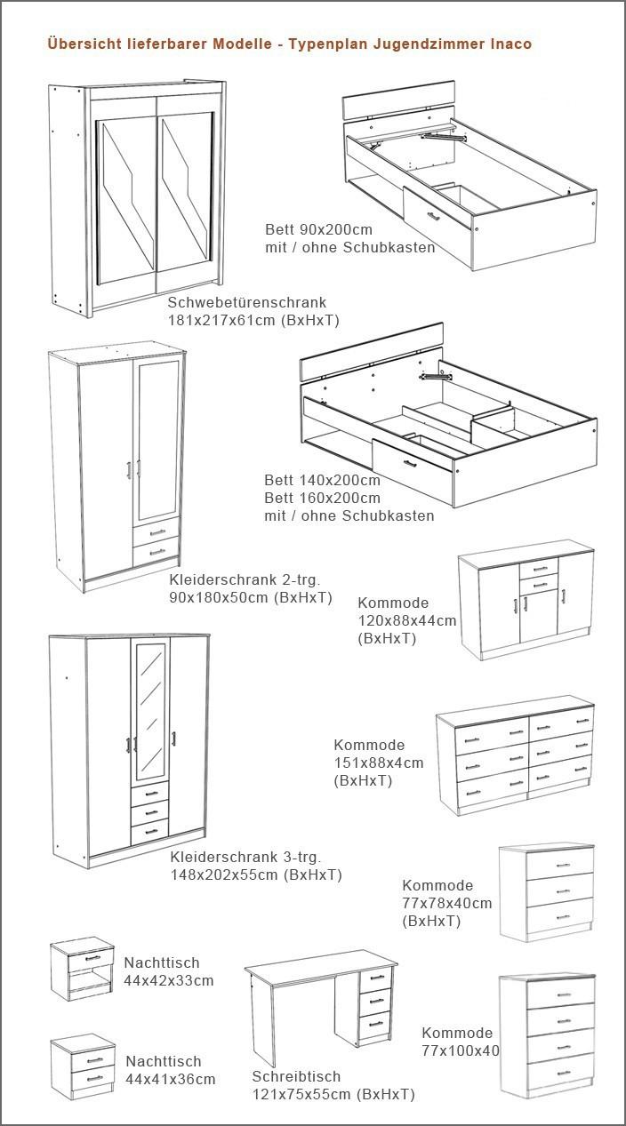 Doppelbett Größen : Jugendbett inaco wei? verschiedene gr??en bett