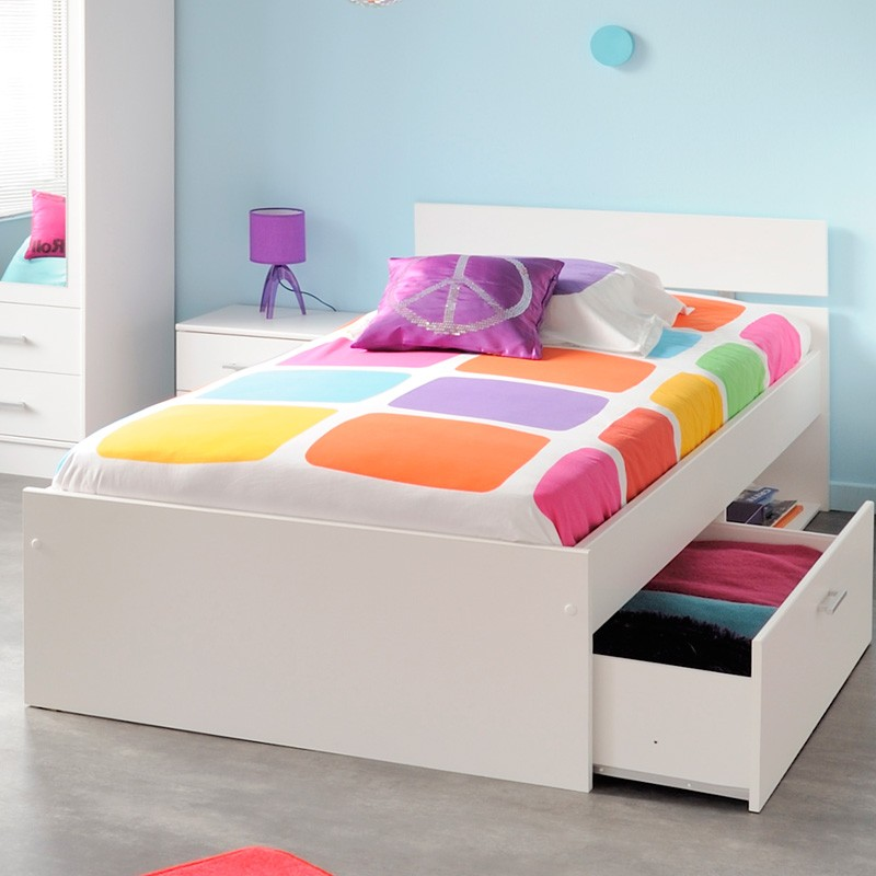 kinderbett nachttisch bettkasten wei inaco 155. Black Bedroom Furniture Sets. Home Design Ideas