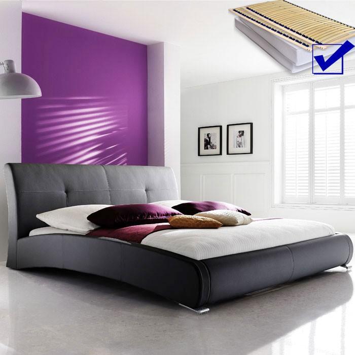 Polsterbett komplett Amadeo Bett 200x200 schwarz + Lattenrost + ...