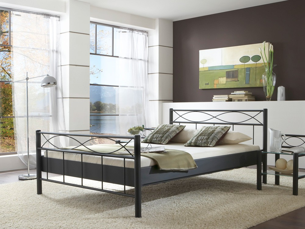 metallbett lorel versch varianten bettgestell jugendbett doppelbett wohnbereiche schlafzimmer. Black Bedroom Furniture Sets. Home Design Ideas