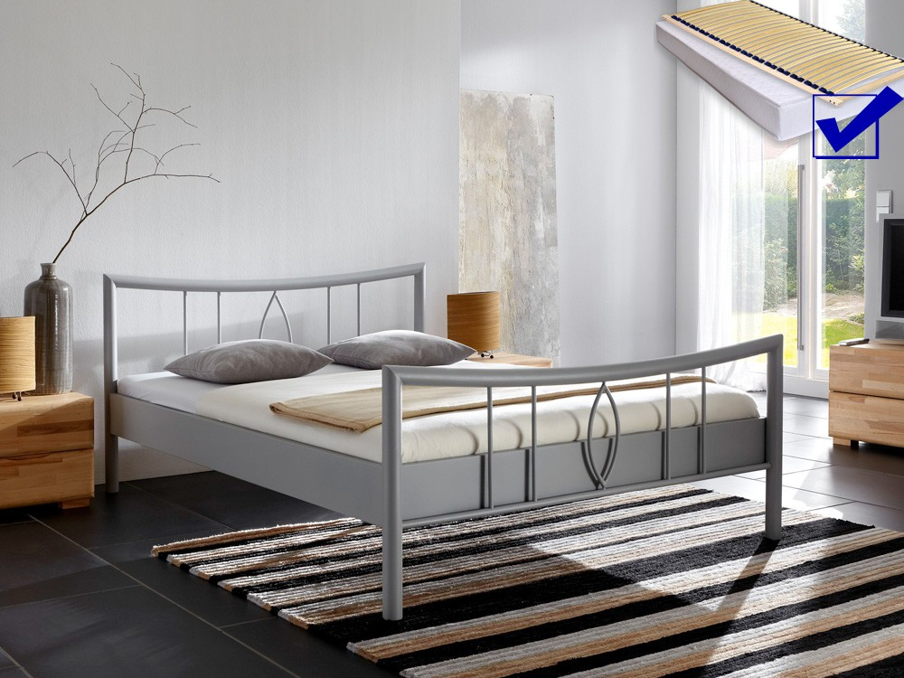 metallbett komplett bett lucie lattenrost matratze. Black Bedroom Furniture Sets. Home Design Ideas