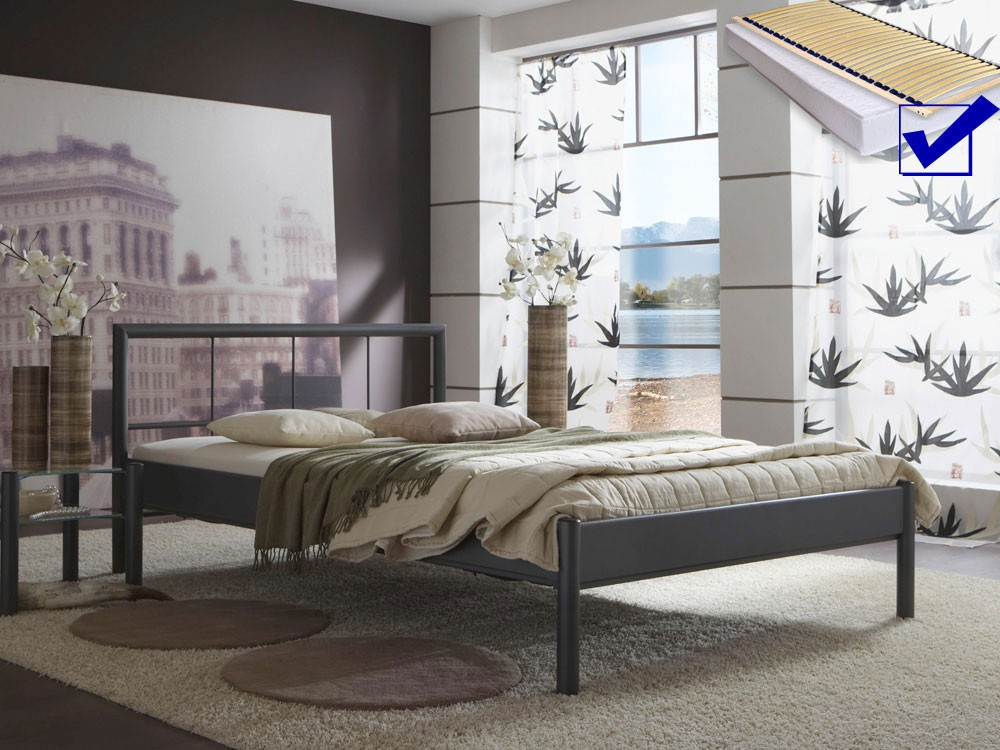 metallbett komplett bett bente lattenrost matratze. Black Bedroom Furniture Sets. Home Design Ideas