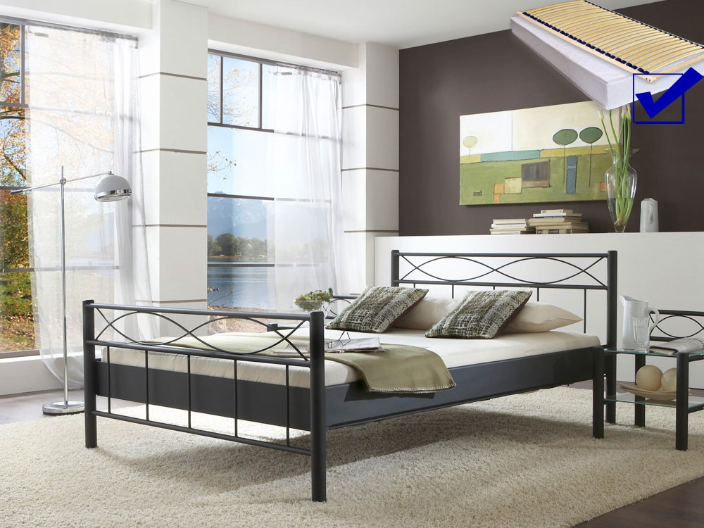 metallbett komplett bett lorel lattenrost matratze varianten wohnbereiche schlafzimmer. Black Bedroom Furniture Sets. Home Design Ideas