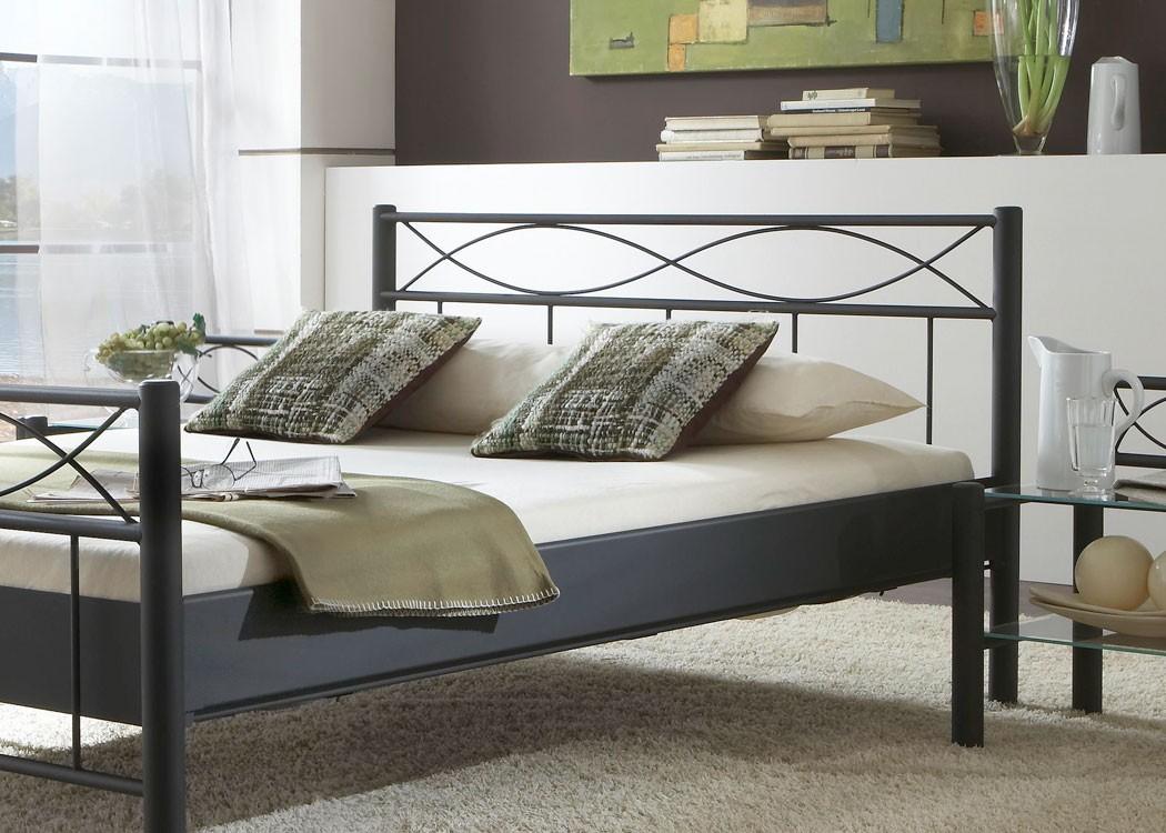 Hochwertiges Metallbett Lorel Komplett, Varianten, Bett + Lattenrost +  Matratze, Doppelbett Singelbett Ehebett
