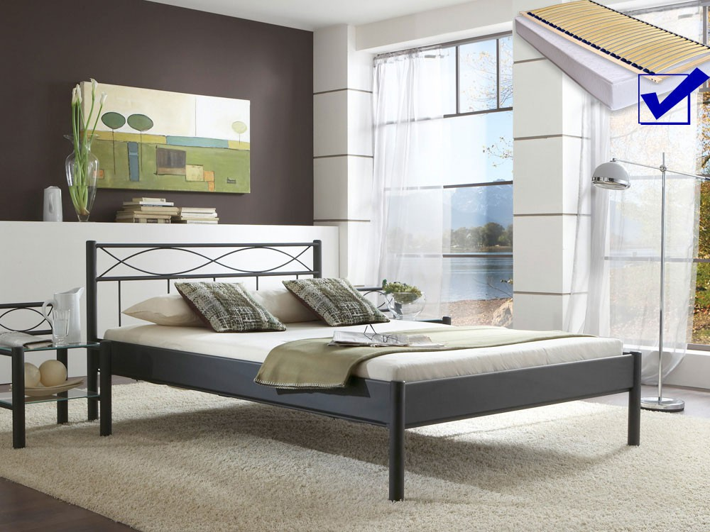 metallbett komplett bett weda lattenrost matratze varianten wohnbereiche schlafzimmer. Black Bedroom Furniture Sets. Home Design Ideas