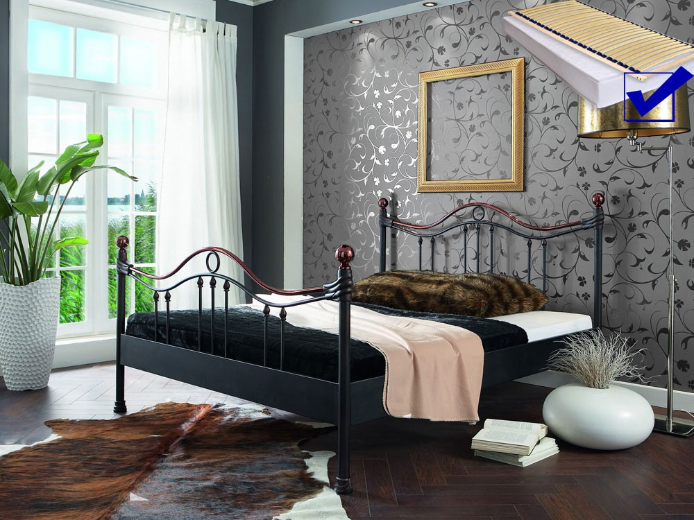 metallbett komplett bett cesar lattenrost matratze varianten wohnbereiche schlafzimmer. Black Bedroom Furniture Sets. Home Design Ideas