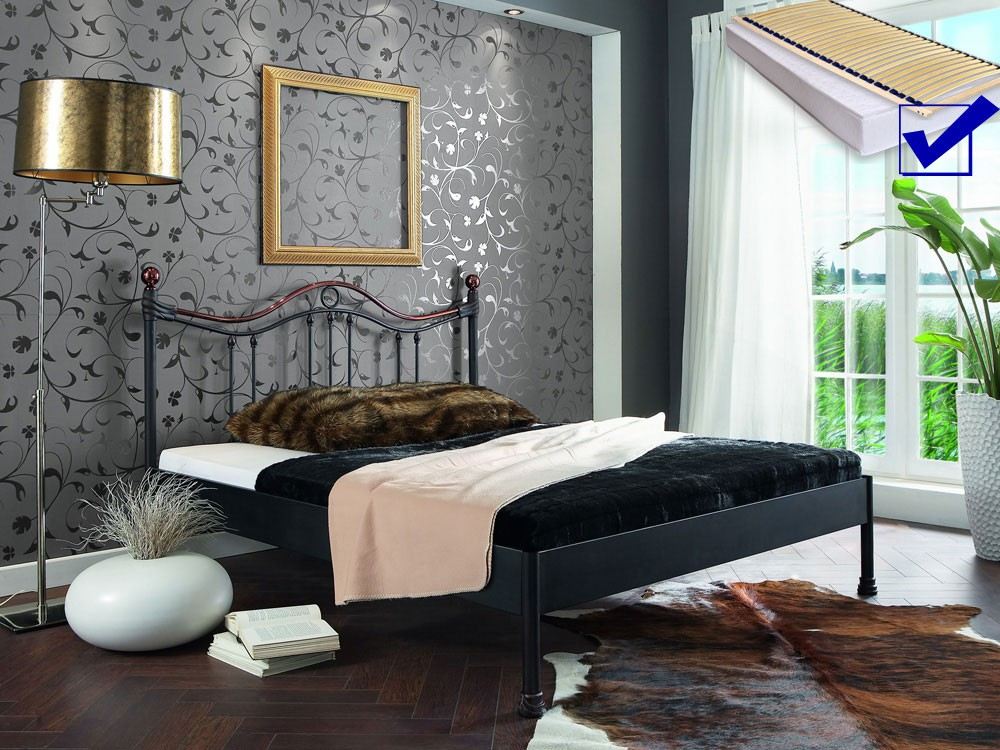 metallbett komplett bett selva lattenrost matratze varianten wohnbereiche schlafzimmer. Black Bedroom Furniture Sets. Home Design Ideas