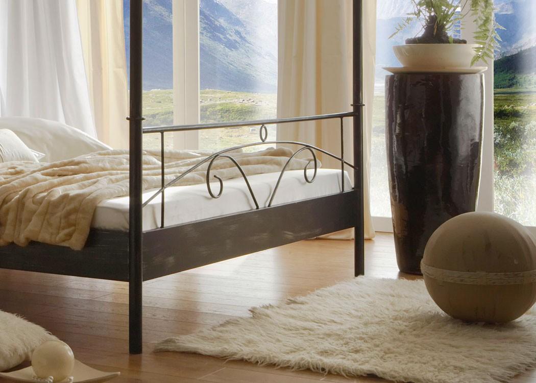 Hochwertiges Himmelbett, Metallbett Cady + Lattenrost + Matratze,  Varianten, Doppelbett Singelbett Ehebett U2013