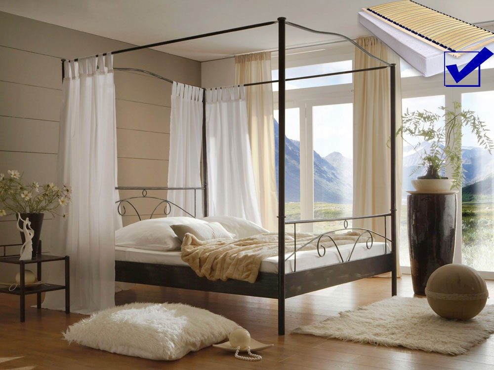himmelbett komplett metallbett cady lattenrost. Black Bedroom Furniture Sets. Home Design Ideas