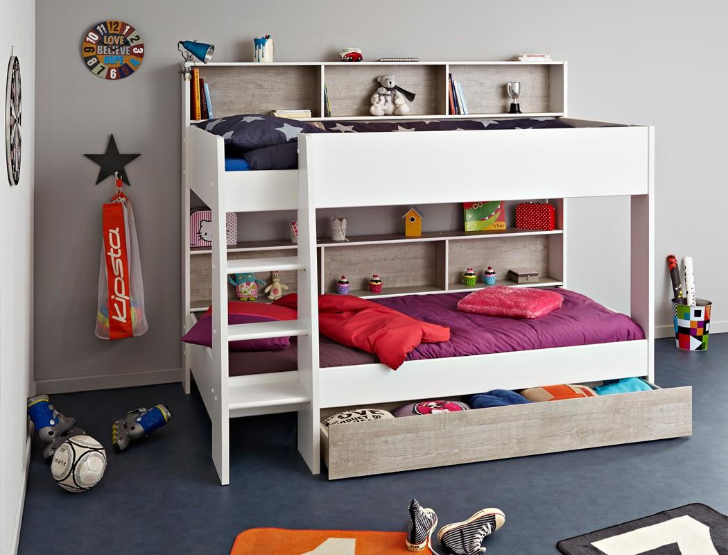 etagenbett hochbett tomke 208x164x132cm wei grau f r jungen m dchen wohnbereiche schlafzimmer. Black Bedroom Furniture Sets. Home Design Ideas