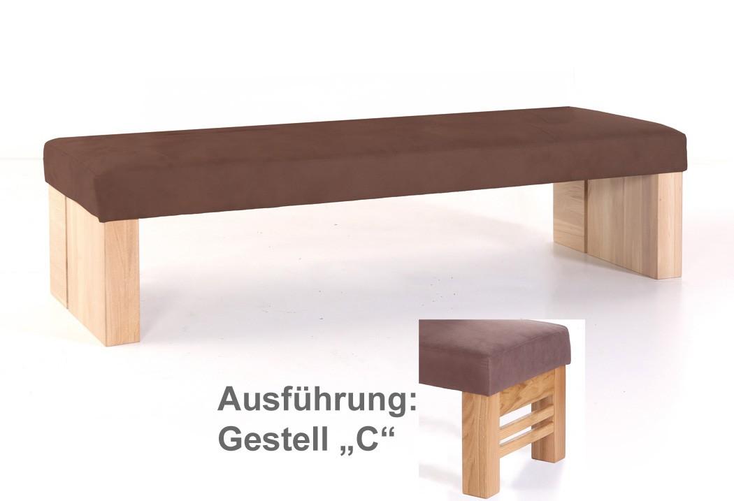 hochwertige sitzbank ohne lehne polsterbank massivholz bank flavio gestell c. Black Bedroom Furniture Sets. Home Design Ideas