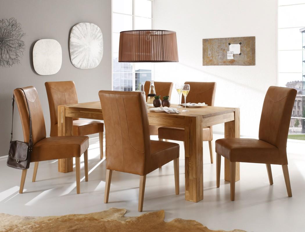 essgruppe tischgruppe eiche tisch 160 260 x90 6 st hle barnet falco braun ebay. Black Bedroom Furniture Sets. Home Design Ideas