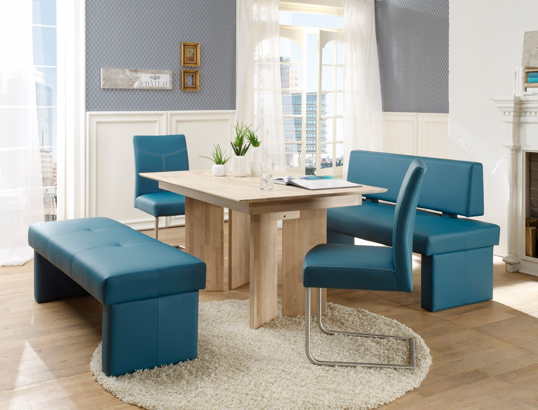 sitzgruppe eiche sonoma tisch 150x90 sitzbank 150cm schwinger petrol joel ebay. Black Bedroom Furniture Sets. Home Design Ideas