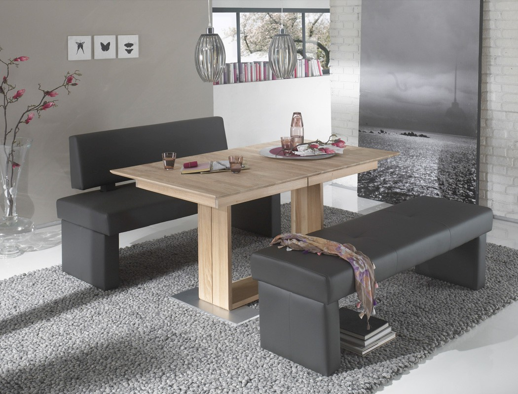 sitzgruppe eiche sonoma tisch bennet 150x90 bank dorian 150cm fango wohnbereiche esszimmer. Black Bedroom Furniture Sets. Home Design Ideas