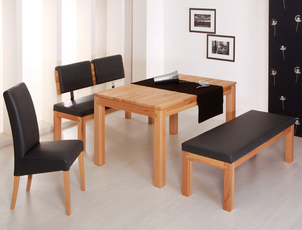 sitzgruppe kernbuche tisch grover 130x90 bank luca 130cm. Black Bedroom Furniture Sets. Home Design Ideas