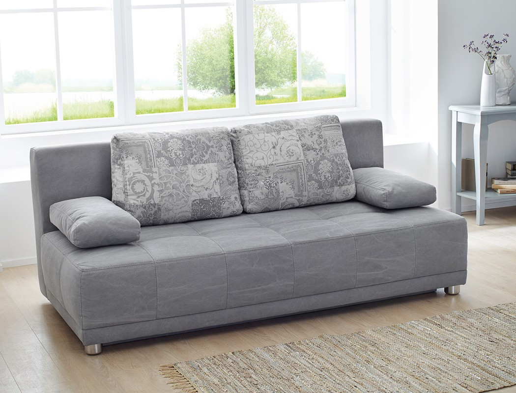 Schlafsofa couch 201x96cm grau funktionssofa schlafcouch for Schlafcouch