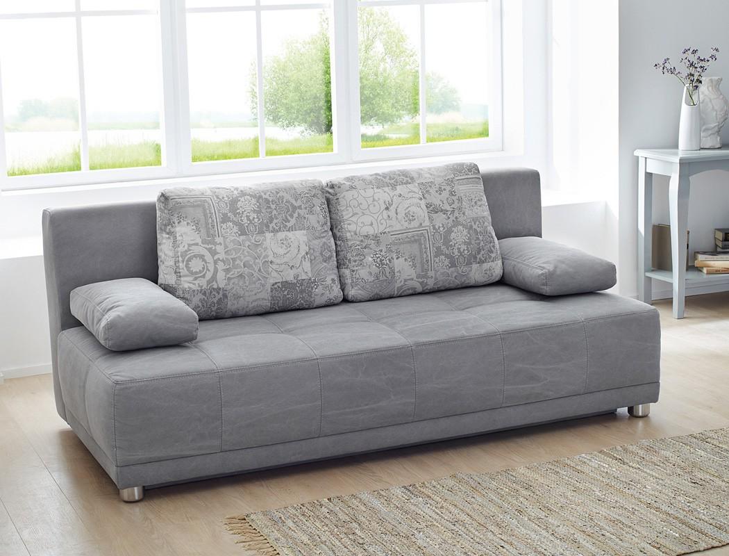 Schlafsofa Couch Paolo 201x96cm Grau Funktionssofa Schlafcouch 001