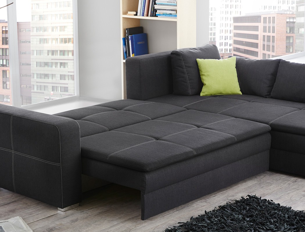 funktionssofa dauerschl fer 290x211cm sofa grau couch bettkasten ecksofa donell ebay. Black Bedroom Furniture Sets. Home Design Ideas