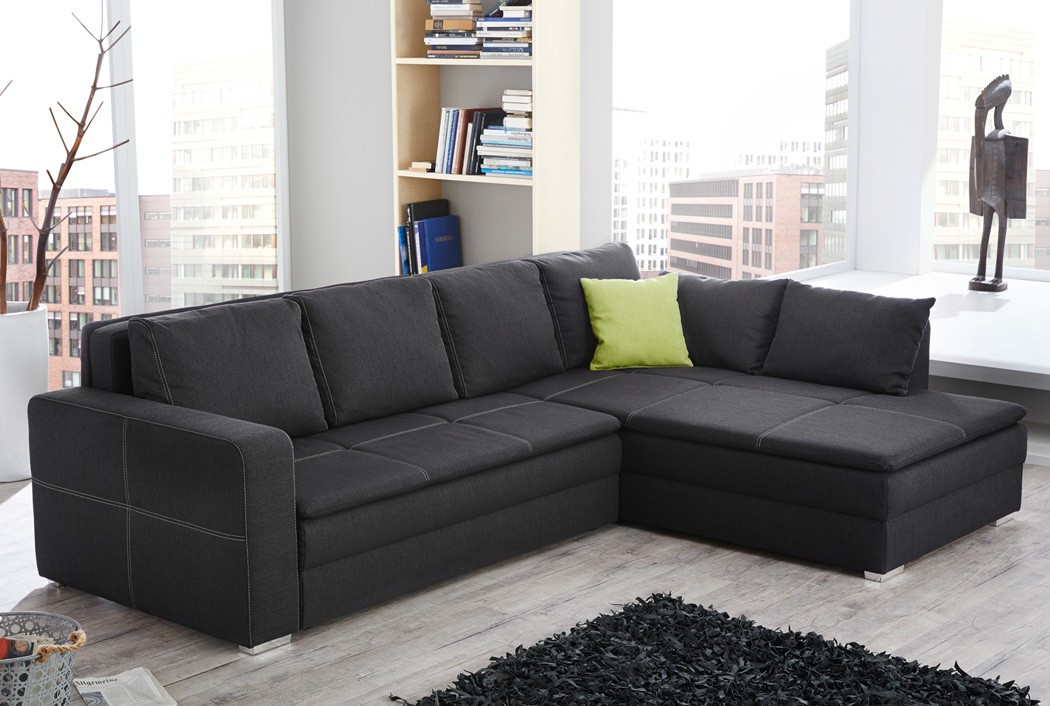 funktionssofa dauerschl fer 290x211cm sofa grau couch bettkasten ecksofa donell. Black Bedroom Furniture Sets. Home Design Ideas