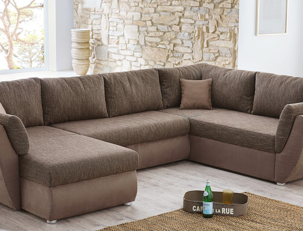 Wohnlandschaft couchgarnitur xxl sofa u form braun for Couch u form klein