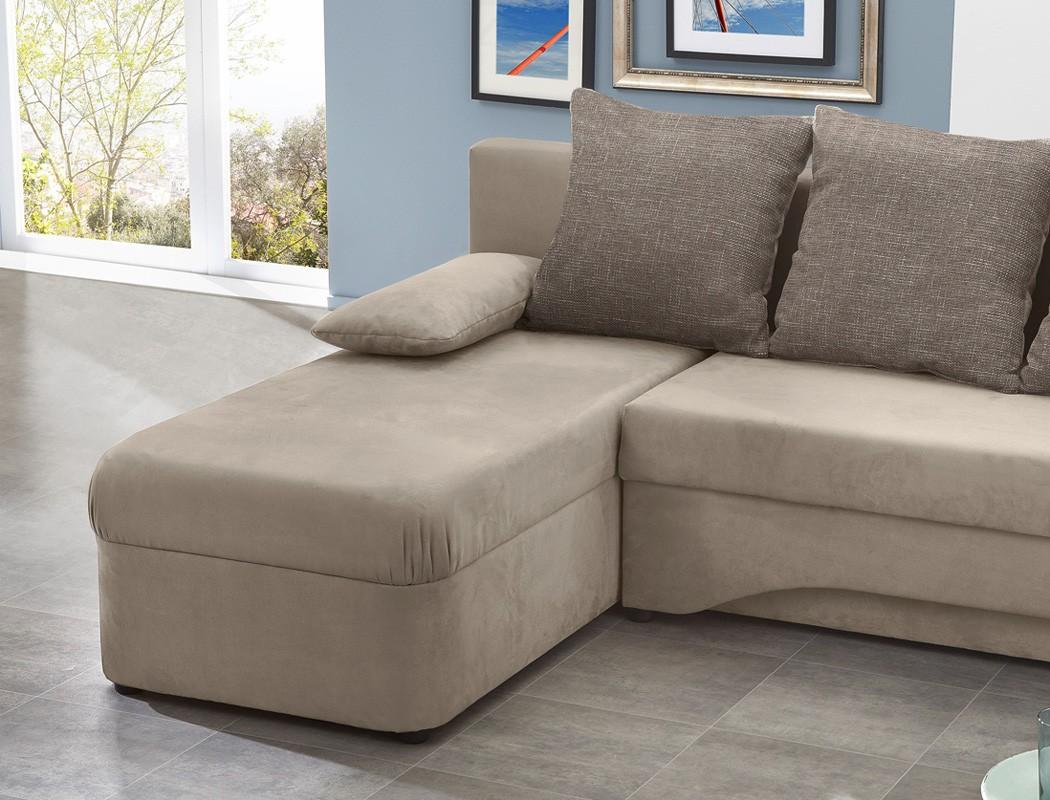 Ecksofa pollux 191x142cm schlamm grau braun schlafsofa for Couch eckcouch