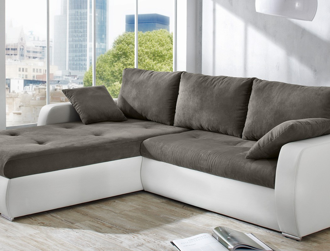 polsterecke 258x202cm grau weiss bettfunktion sofa couch. Black Bedroom Furniture Sets. Home Design Ideas