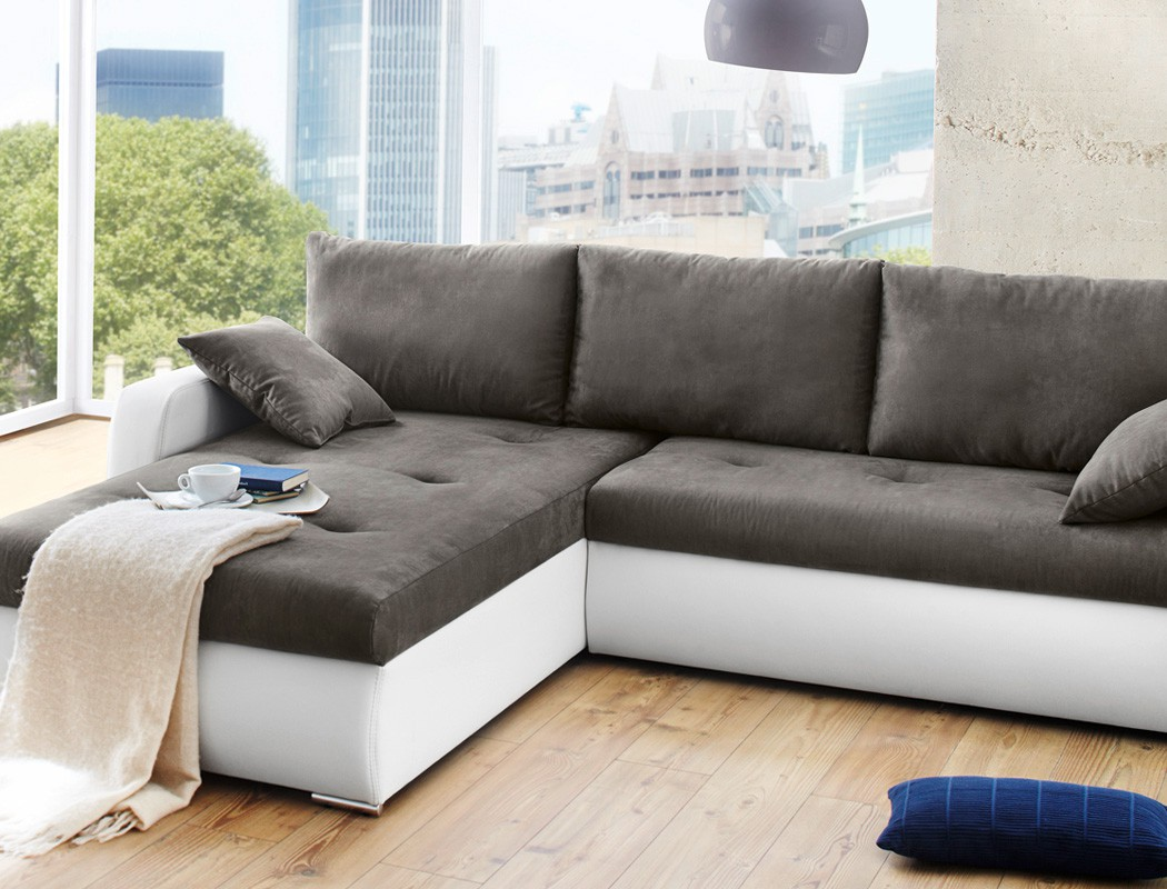 polsterecke 258x202cm grau weiss bettfunktion sofa couch wohnlandschaft ronia ebay. Black Bedroom Furniture Sets. Home Design Ideas