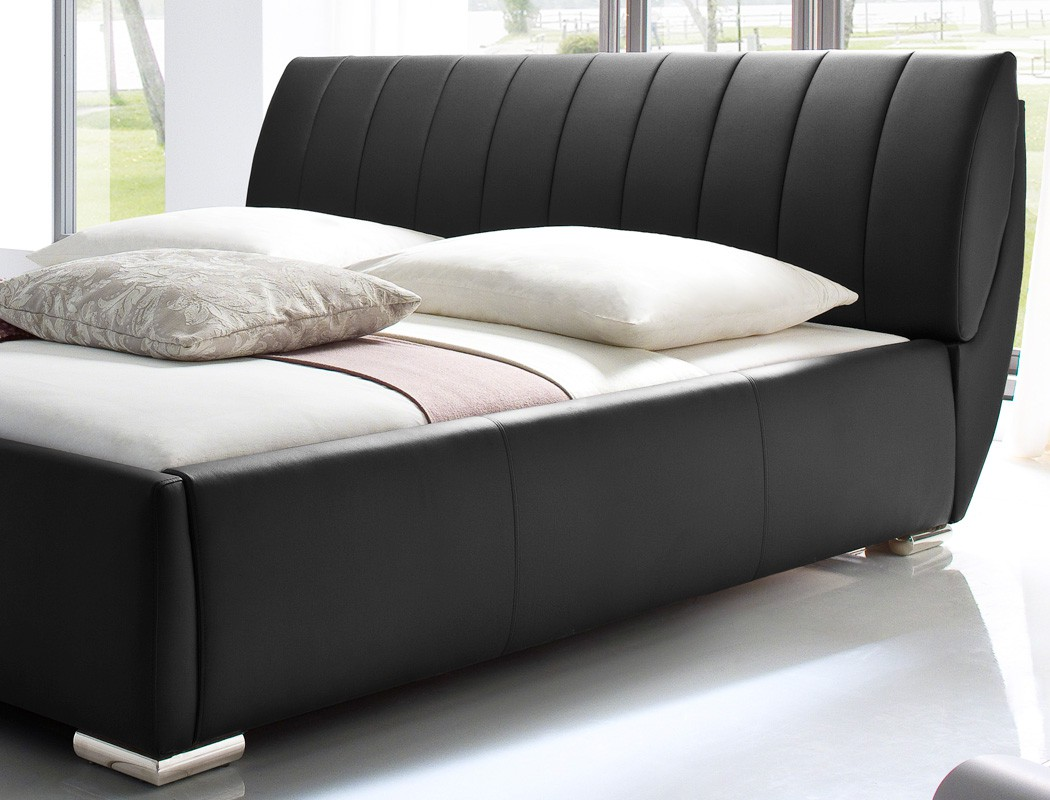 polsterbett luanos 180x200cm schwarz lattenrost klappbar doppelbett wohnbereiche schlafzimmer. Black Bedroom Furniture Sets. Home Design Ideas