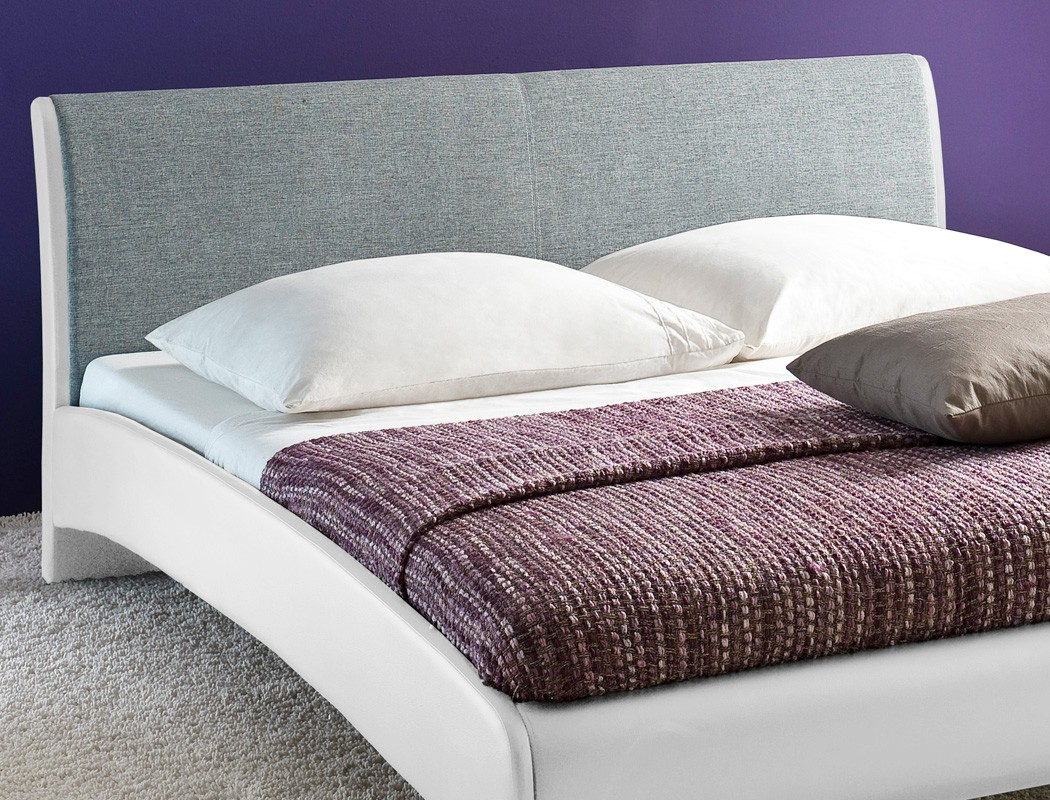 polsterbett bett 180x200 cm wei hellgrau doppelbett kunstleder stoff relana ebay. Black Bedroom Furniture Sets. Home Design Ideas