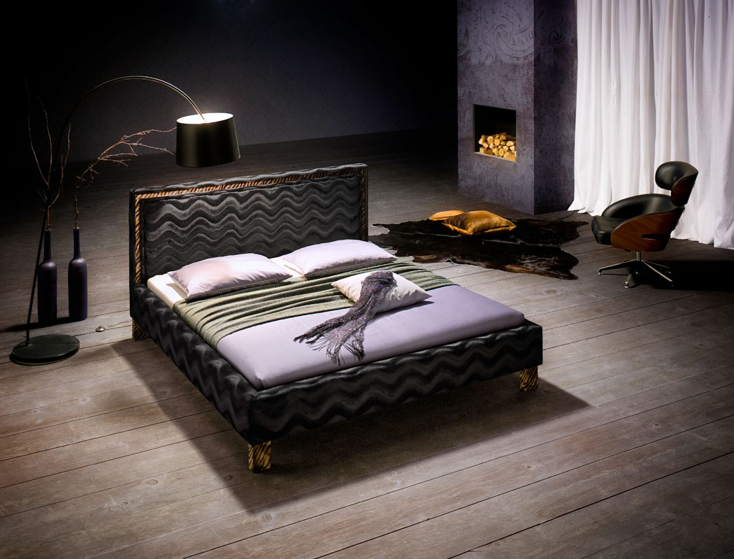 polsterbett cassio bett 180x200 stoff schwarz lattenrost. Black Bedroom Furniture Sets. Home Design Ideas
