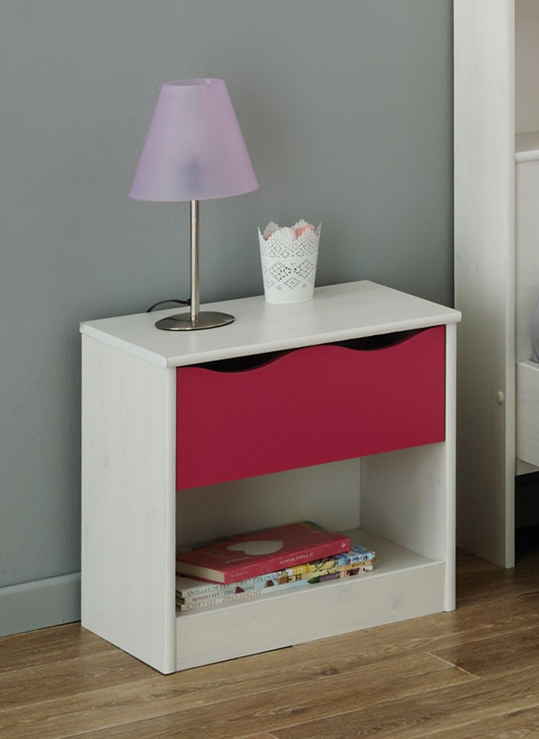 Kinderzimmer Mädchen weiß pink Kinderbett Nachttisch Kommode Regal ...
