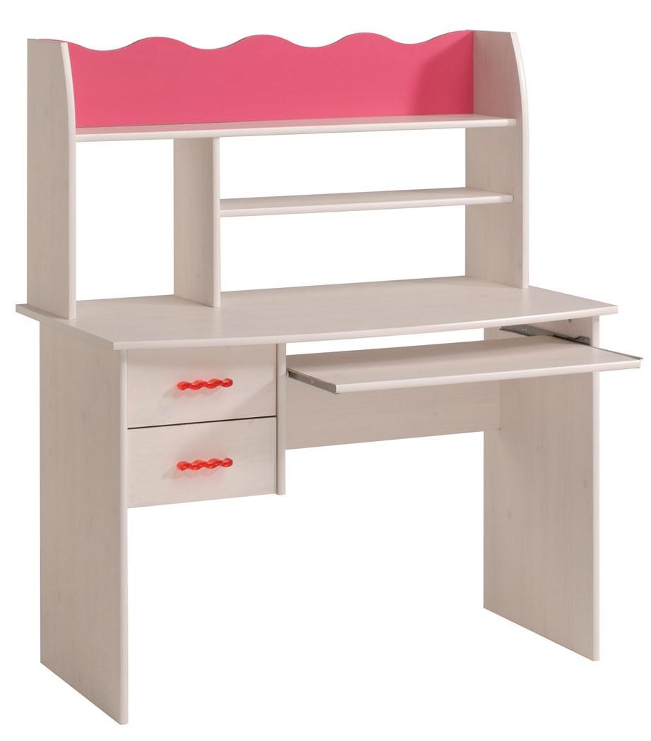 schreibtisch lilan 3 weiß pink kinderzimmer mädchen tisch ... - Kinderzimmer Weis Pink