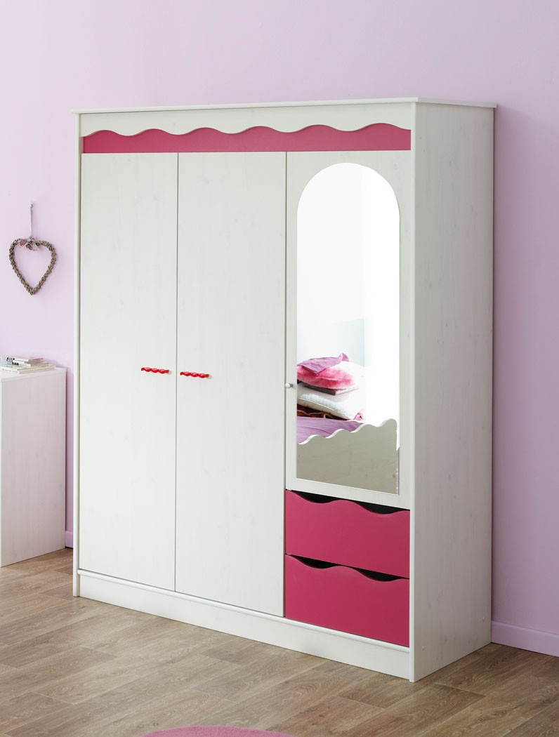 kleiderschrank wei pink m dchenzimmer kinderzimmer schrank spiegelschrank lilan. Black Bedroom Furniture Sets. Home Design Ideas