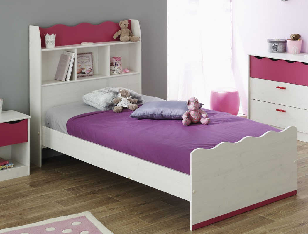 jugendbett 90x200 cm m dchen wei pink m dchenzimmer. Black Bedroom Furniture Sets. Home Design Ideas