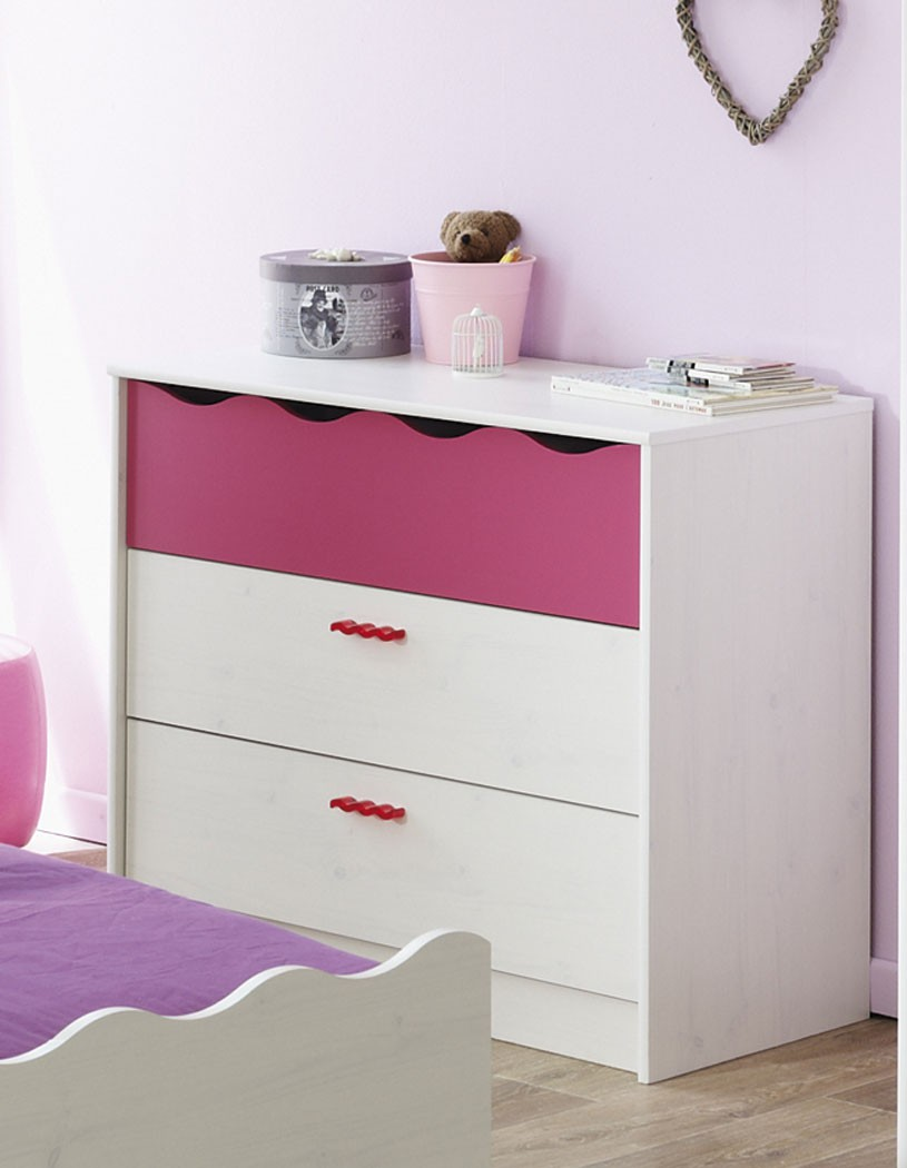 schubkastenkommode lilan 6 wei pink kinderzimmer. Black Bedroom Furniture Sets. Home Design Ideas