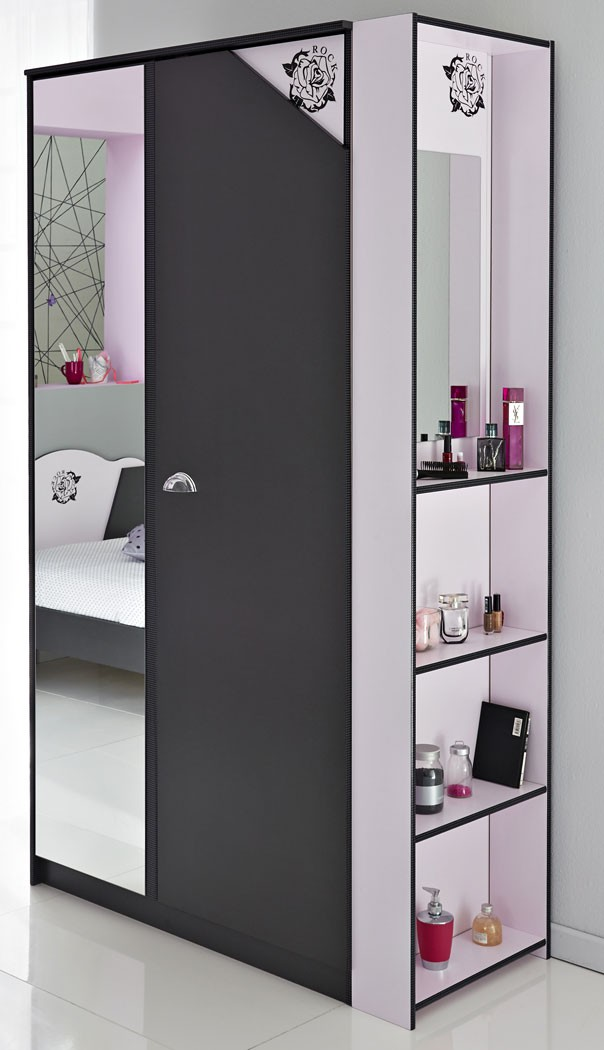 schrank regal kombination dunkelgrau rosa kleiderschrank kinderzimmer tadeo 2 ebay. Black Bedroom Furniture Sets. Home Design Ideas