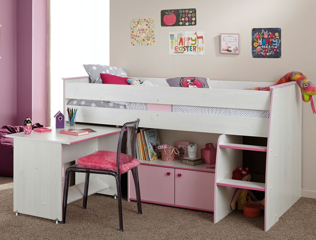 hochbett zola 90x200 wei pink rosa kinderbett etagenbett. Black Bedroom Furniture Sets. Home Design Ideas