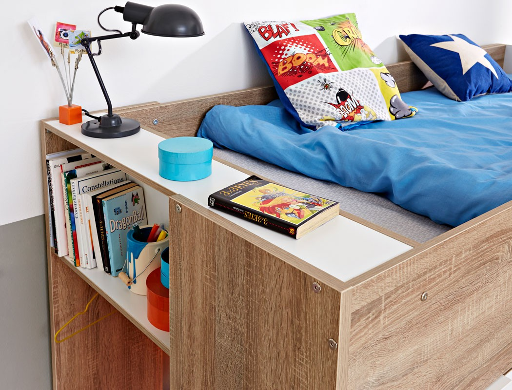 etagenbett stian 90x200 cm eiche wei kinderbett hochbett kinderzimmer wohnbereiche schlafzimmer. Black Bedroom Furniture Sets. Home Design Ideas